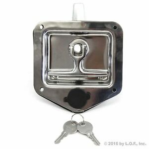 Stainless Door Lock Trailer Toolbox Rv T Tee Handle Latch 4 3 4 X 4 7 8 W Key