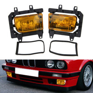 For 85 93 Bmw E30 3 series Front Bumper Crystal Yellow Fog Light Lamps Lens Kit