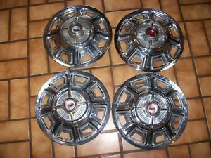 Set Of 4 1966 66 Ford Fairlane Galaxie 14 Spinner Hubcaps Wheel Covers