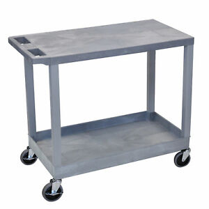 Luxor Plastic Grey High Capacity Cart With Top Flat Shelf And Bottom Tub Shelf