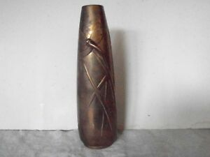 Antique Arts And Crafts Bronze Vase 9 With Dragon Fly Reeds Design
