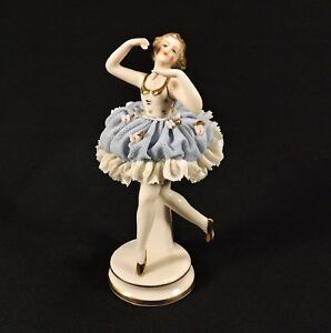 Antique Akerman Fitze German Dresden Lace Ballerina Figurine 1777 Signed