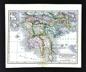 1831 Carey Lea Map Ancient Greece Peloponnesus Athens Sparta Corinth Olympia