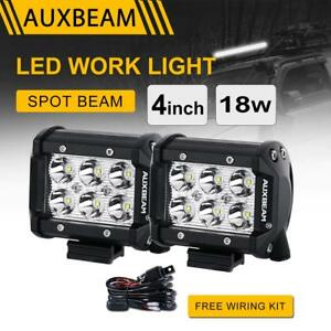 Auxbeam 4 18w Cree Led Light Bar Spot Beam Work Lamp Pod Driving Suv Truck Boat
