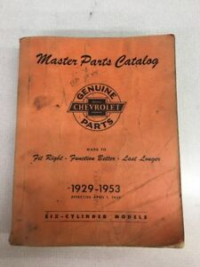 Vintage 1929 1953 Chevrolet Master Parts Catalog Book Pickup Truck Bowtie Gm