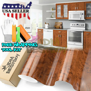 Premium Gloss Wood Grain Vinyl Wrap Sticker Decal Car Home Kitchen Decoration 06