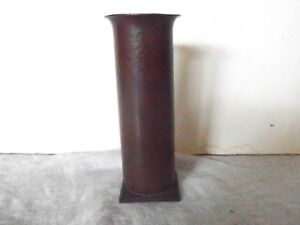 Arts And Crafts Heavy Hammered Copper Vase Original Patina Near Mint