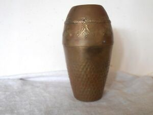 Arts And Crafts Aesthetic Movement Brass Vase Marked Saxony With Floral Designs