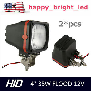 2x 4inch 35w 12v Flood Xenon Hid Work Light Off Road Suv Truck Jeep Boat Auto