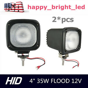 2pcs 35w 12v Hid Xenon Work Light Flood Beam 4inch Truck Atv Bumper Offroad Ford