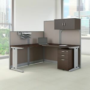 Office In An Hour 65w L Shaped Cubicle Workstation Storage In Cherry