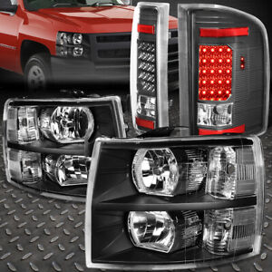 For 07 14 Chevy Silverado Black Housing Clear Side Headlight full Led Tail Lamps