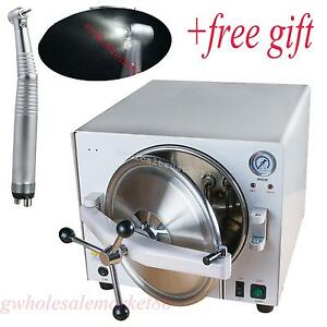 Dhl Ship 18l Stainless Steel Medical Dental Autoclave Sterilizer gift Handpiece