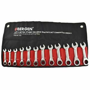 12pc Stubby Metric Mm Ratchet Combination Spanner Wrench Set 8mm 19mm