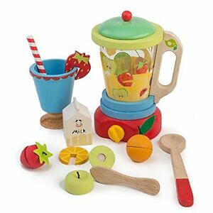 12 Pc Wooden Smoothie Maker Includes Blender Milk Carton Various Fruits Cup
