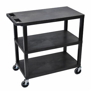 Luxor Black Plastic High Capacity 3 flat Shelf Cart