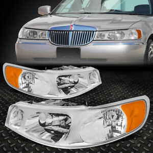 For 98 02 Lincoln Town Car Chrome Housing Amber Corner Driving Headlight lamps