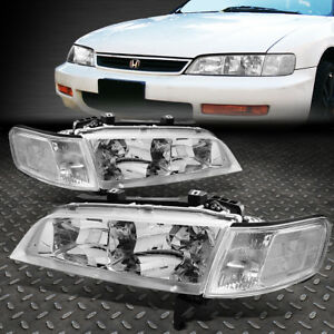 For 94 97 Honda Accord Pair Chrome Housing Clear Corner Driving Headlight lamps
