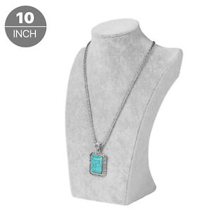 Velvet Necklace Jewelry Pendant Chain Chokers Display Bust Stand Holder Gray