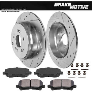 Rear Drilled Slotted Brake Rotors Ceramic Pads Honda Odyssey Pilot Mdx Zdx