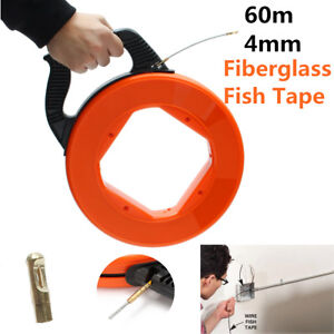 60m Wire Cable Fiberglass Fish Tape Reel Conduit Ducting Rodder Pulling Puller