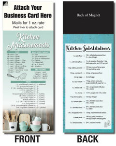 Kitchen Measurements Cupboard Adcards Magnetic Business Card Info Handout