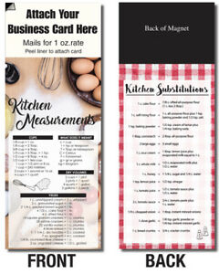 Kitchen Measurements Substitutions Adcards Magnetic Business Card Info Handout