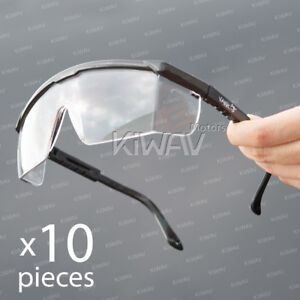 Safety Glasses Clear Lens Black Frame Top Side 180 Shield Uv Protection 10pair