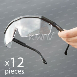 Safety Glasses Clear Lens Black Frame Top Side 180 Shield Uv Protection 12pair