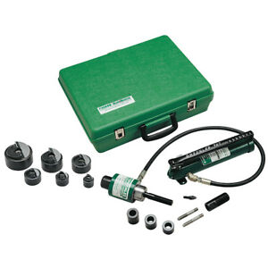 Greenlee 7306sb 1 2 X 2 inch 11 ton Ram And Hand Pump Hydraulic Punch Driver Kit
