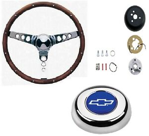 Grant 15 Wood Steering Wheel Installation Kit Chevy Bowtie Horn Button For 1500