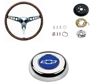 Grant 15 Wood Steering Wheel installation Kit bowtie Horn Button For El Camino