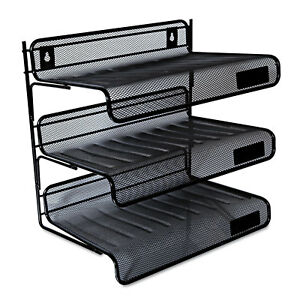Universal One Black Mesh Three tier Desk Shelf pack Of 2