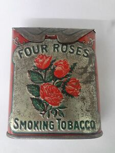 VINTAGE ADVERTISING FOUR ROSES ROLL TOP TOBACCO VERTICAL POCKET TIN  269-Y
