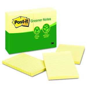 Post it Greener Notes Canary Yellow Recycled Notes pack Of 12