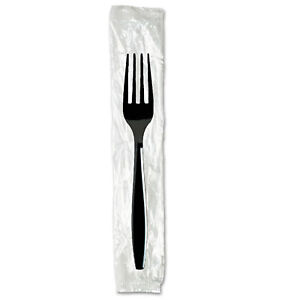 Dixie Individually Wrapped Forks Plastic Black 1000 carton