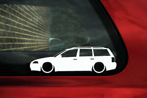 2x Lowered Car Outline Stickers For Volkswagen Vw Passat B5 5 Facelift Wagon