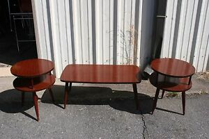 Mid Century Coffee Table 2 End Tables Mahogany Look