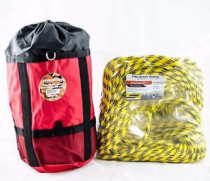 Tree Climbing Rope yellow Jacket Pelican 24 Strand 7 16 x150 Rated6400lb W bag