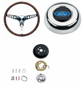 Grant 15 Wood Steering Wheel installation Kit oval Horn Button For Thunderbird