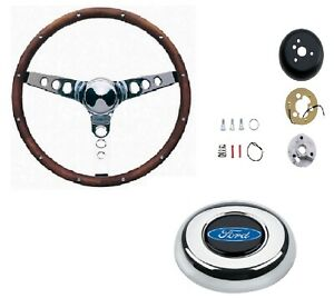 Grant 15 Wood Steering Wheel installation Kit ford Oval Horn Button For Bronco
