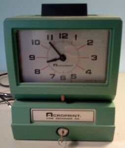 Vintage Acroprint Time Recorder Auto Punch Clock 125nr4 Timecards Key And Box