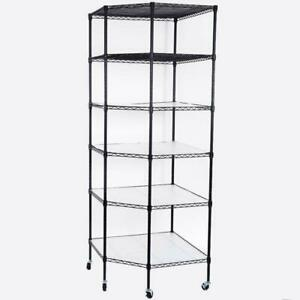 6 tier Wire Shelving Adjustable Rolling Rack Corner Unit Storage Steel Shelves
