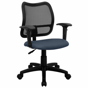 Tartys Black Mesh Swivel Office Chair With Navy Fabric Padded Seat And Height