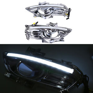 Pair Drl For Ford Fusion Mondeo 13 14 15 16 Led Daytime Running Light Fog Lamp
