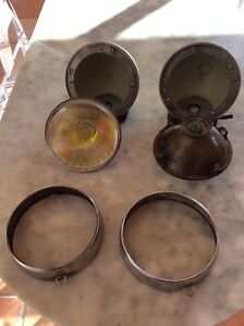 Early Porsche 911 Original Cibie Hood Lights With Yellow Housings
