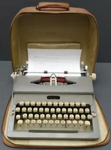 Royal century Gray Manual Portable Typewriter W Carrying Case Euc