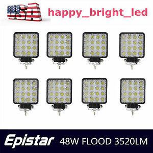 8x 48w Pods Led Work Light Bar Driving Fog Flood Lamp Square Offroad Suv Truck