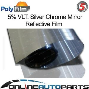 5 Silver Mirror Reflective Glass Window Solar Film 50cm X 30m Roll Bulk Tint