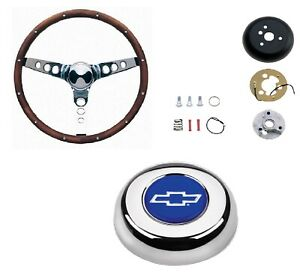 Grant 13 5 Wood Steering Wheel Installation Kit Bowtie Horn Button For Luv
